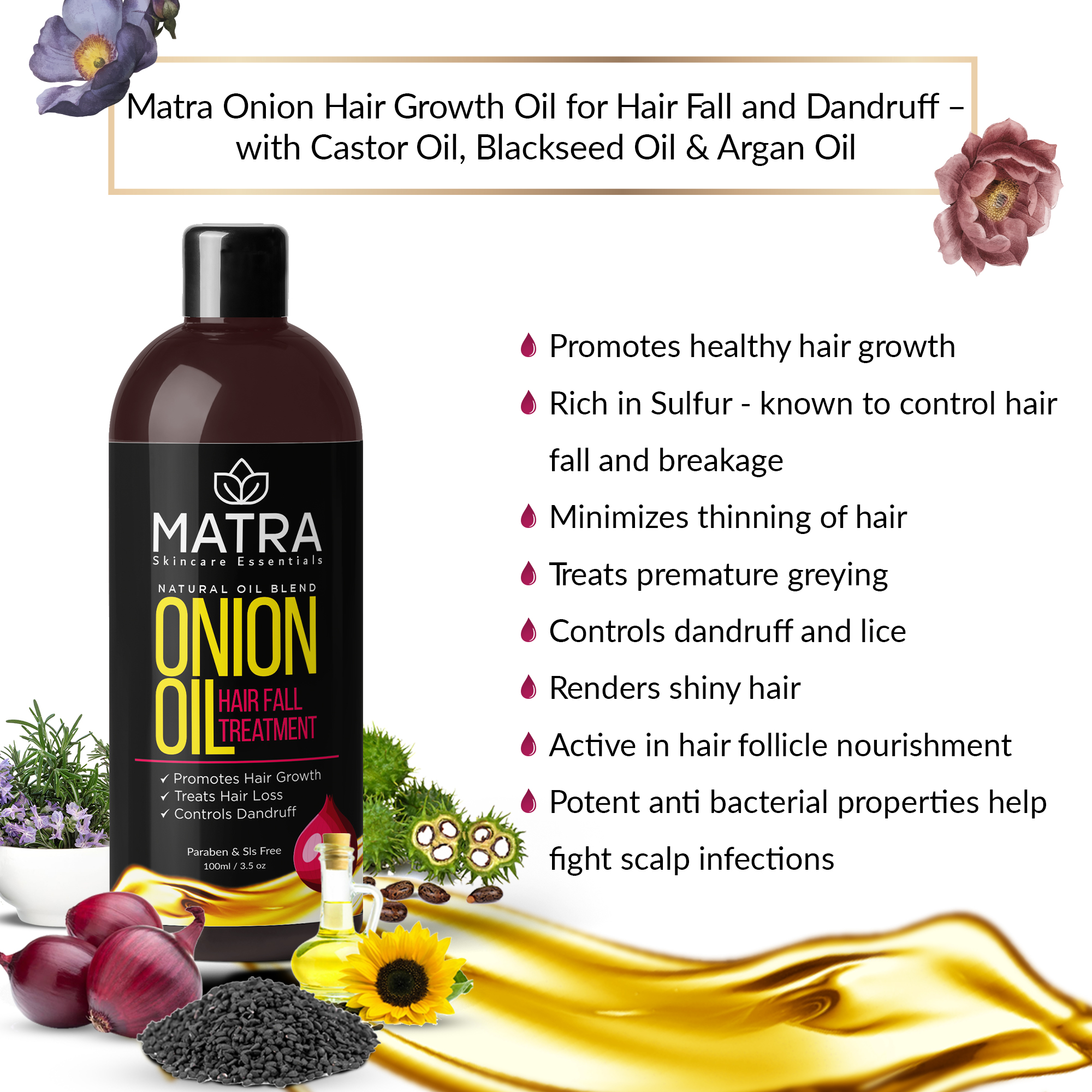 Buy Matra Onion Hair Oil for Hair Growth, Hair Fall & Dandruff Treatment